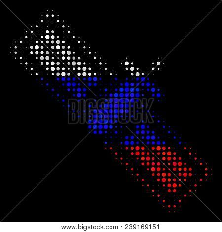 Halftone Satellite Pictogram Colored In Russia State Flag Colors On A Dark Background. Vector Collag