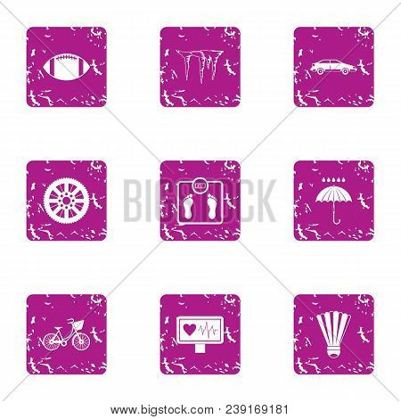Healthy Individual Icons Set. Grunge Set Of 9 Healthy Individual Vector Icons For Web Isolated On Wh
