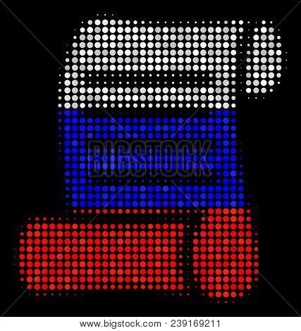 Halftone Script Roll Icon Colored In Russia Official Flag Colors On A Dark Background. Vector Collag