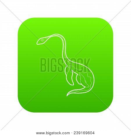 Aquatic Dinosaur Icon Green Vector Isolated On White Background