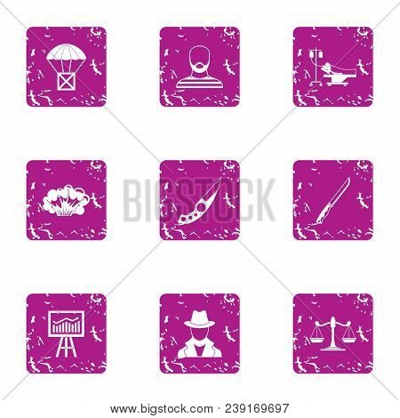 Delinquency Icons Set. Grunge Set Of 9 Delinquency Vector Icons For Web Isolated On White Background