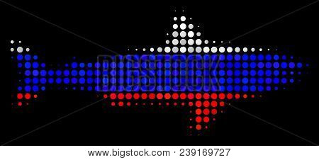 Halftone Shark Pictogram Colored In Russian State Flag Colors On A Dark Background. Vector Pattern O