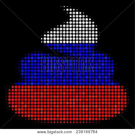 Halftone Shit Icon Colored In Russian Official Flag Colors On A Dark Background. Vector Composition
