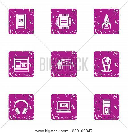 Start Up Sale Icons Set. Grunge Set Of 9 Start Up Sale Vector Icons For Web Isolated On White Backgr