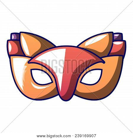 Fox Carnival Mask Icon. Cartoon Of Fox Carnival Mask Vector Icon For Web Design Isolated On White Ba