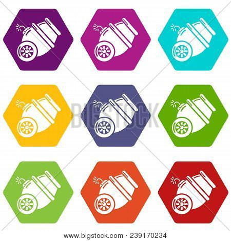 Ship Cannon Icons 9 Set Coloful Isolated On White For Web