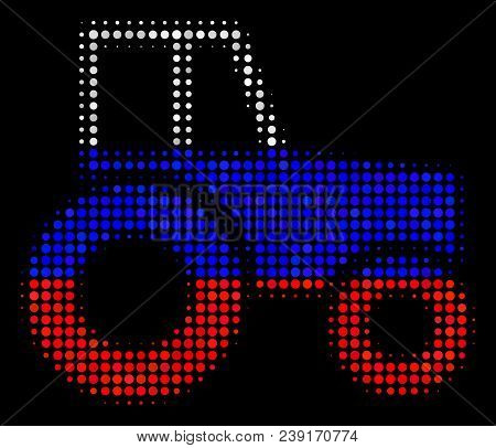 Halftone Wheeled Tractor Icon Colored In Russian Official Flag Colors On A Dark Background. Vector M