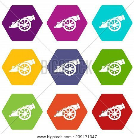 Artillery Cannon Icons 9 Set Coloful Isolated On White For Web