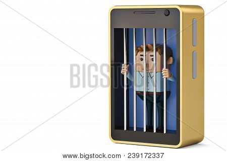 A  Office Man Character In Mobile Phone Jail.3D Illustration.