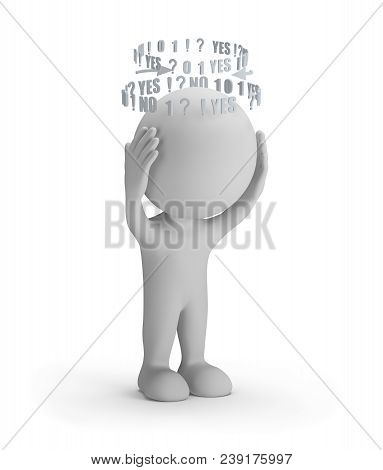 3d Person In A Stressful State Of Thoughts. 3d Image. White Background.