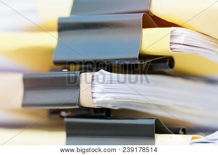Document Report And Business Busy Concept: Asian Businessman Hands Working In Many Documents Stacks