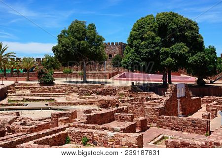 Silves, Portugal - June 10, 2017 - View Of The Medieval Ruins Inside The Castle, Silves, Portugal, E