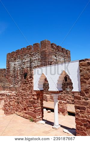 Silves, Portugal - June 10, 2017 - View Of The Medieval Ruins Inside The Castle Showing The Vaulted