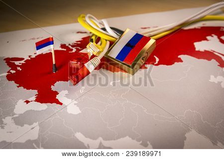 Padlock, Net Cable, Russia Flag On A Smartphone And Russia Map, Symbolizing The System For Operative