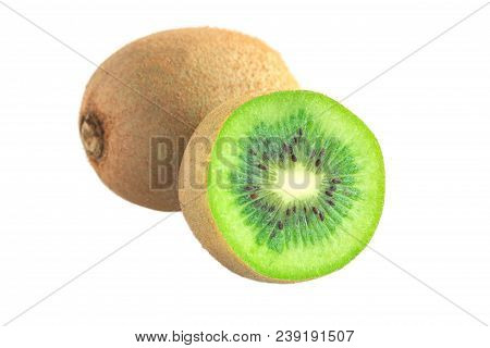 Fresh And Juicy Kiwi Fruit And A Half On White Isolated Background Easy To Use For Design. Ripe Kiwi