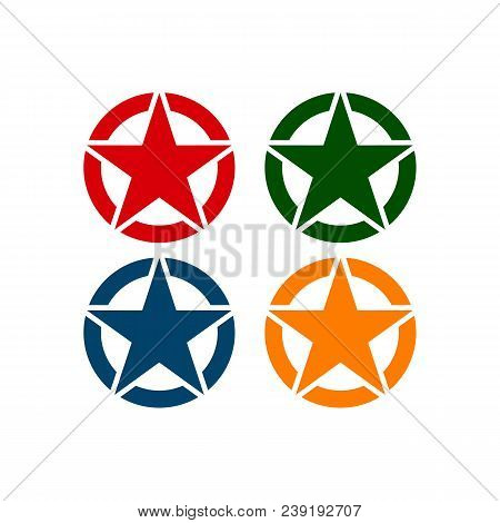 Set Of Star Vector Logo Template. Star Emblem. Celebrity Star Champion Rating Star. Star Symbol. Sta