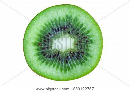 Fresh And Juicy Kiwi Fruit With Cross Section Cut In Close Up View Macro Concept. Ripe Kiwi Fruits O