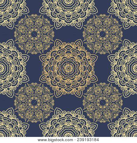 Vector Seamless Pattern Mandala Print.vintage Decorative Elements. Hand Drawn Asian Background.arabi