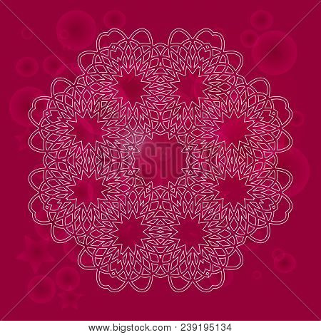 Mandala On A Blurred Background. Boho Style.  Vector Mandala Print.vintage Decorative Elements. Hand
