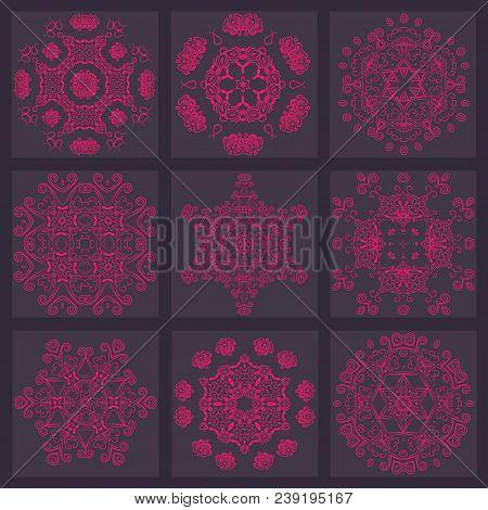 Set Flower Mandalas. Vintage, Ethnic Element. Oriental Pattern, Vector Illustration For Wedding Invi
