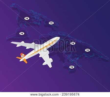 Airplane With Location On World Map Vector Isometric Background