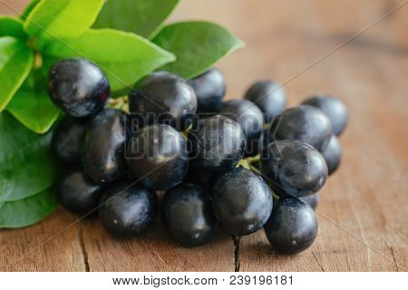 Bunch Of Fresh Seedless Red Grape On Wood Table. Black Grapes In Close Up View With Copy Space For B