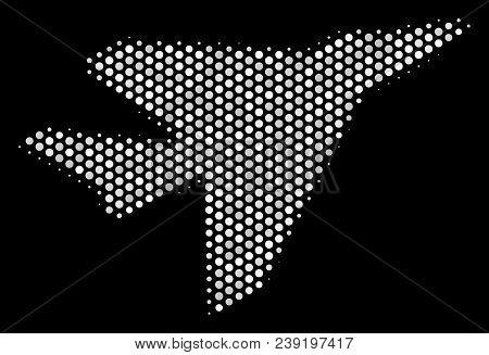 Dot White Airplane Intercepter Icon On A Black Background. Vector Halftone Mosaic Of Airplane Interc