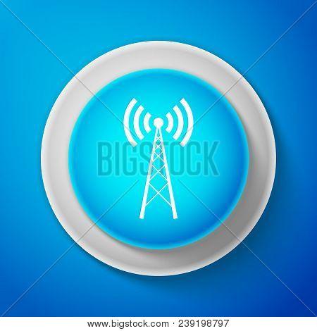 White Antenna Icon Isolated On Blue Background. Radio Antenna Wireless. Technology And Network Signa