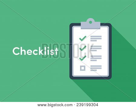 Checklist Brief With Check Tick Marks Icons For Checklist Survey Or Opinion Poll