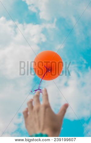 A Woman's Hand Let Go Of The Orange