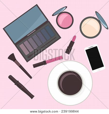 Flat Lay Cosmetics Accessories And Cup Of Coffee. Vanity Table. Concept Of Beauty, Fashion, Glamour.