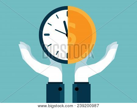 Time Is Money Concept Human Hands Holding Half Of Clock And Money Coin Vector Background