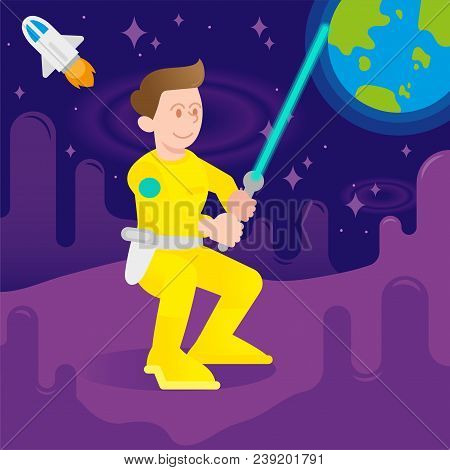Young Cute Cosmonaut Astronaut Fighter Warrior Man Boy Which Keep Space Laser Sword. Dress In Yellow