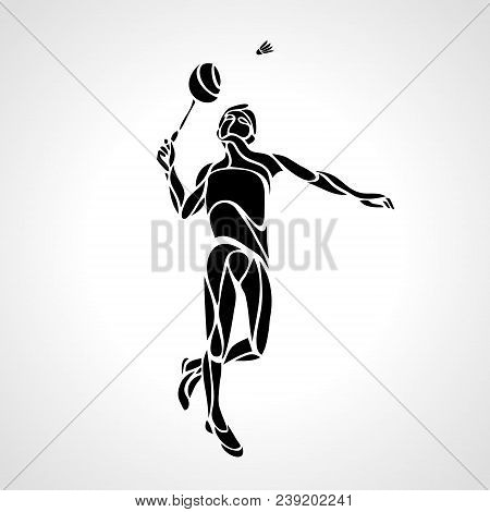 Silhouette Of Abstract Badminton Player Doing Smash Shot. Black And White Outline Professional Badmi