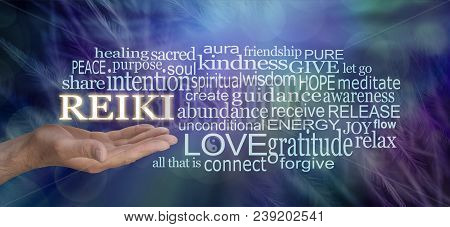 Gentle Reiki Words Of Wisdom Word Cloud - Male Hand With Reiki Floating Above Surrounded By A Releva