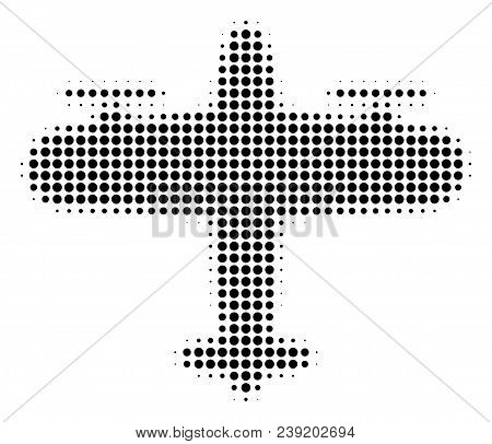 Pixel Black Aircraft Icon. Vector Halftone Pattern Of Aircraft Pictogram Combined From Spheric Pixel