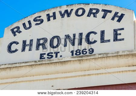Rushworth, Australia - March 12, 2018: The Rushworth Chronicle Newspaper Was Published Under That Na