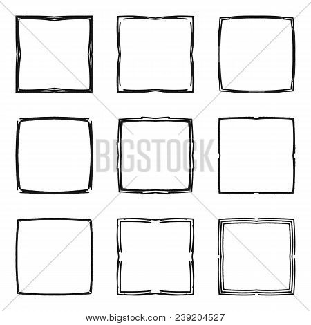 Set Of Hand Drawn Decorative Square Frames And Borders. Mono Line Design Templates, Isolated On Whit