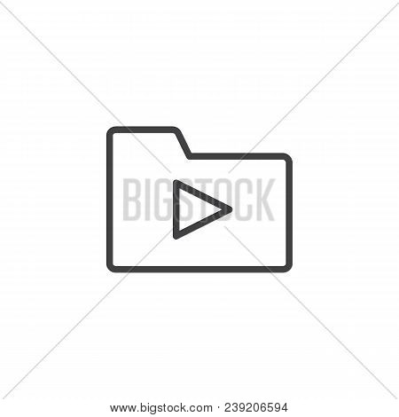 Media Folder Outline Icon. Linear Style Sign For Mobile Concept And Web Design. Folder With Play But