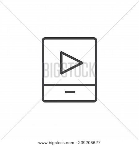 Video Media Player Outline Icon. Linear Style Sign For Mobile Concept And Web Design. Player Simple