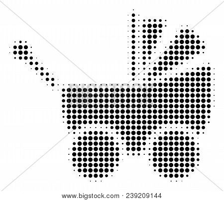 Pixelated Black Baby Carriage Icon. Vector Halftone Concept Of Baby Carriage Icon Composed Of Round