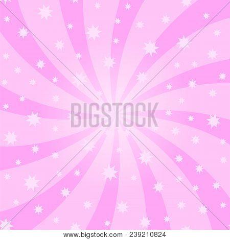 Pink Cartoon Swirl Design. Vortex Starburst Spiral Twirl Square. Helix Rotation Rays. Swirling Radia