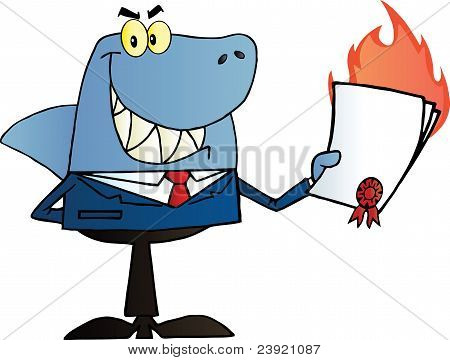 Shark Salesman Holding A Bad Contract In His Hand poster