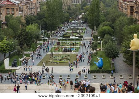 Yerevan, Armenia - September 21, 2017: Yerevan Cascade And The Giant Stairway In Yerevan. Armenia. O