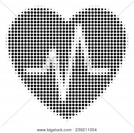 Pixelated Black Cardiology Icon. Vector Halftone Concept Of Cardiology Symbol Combined With Spheric