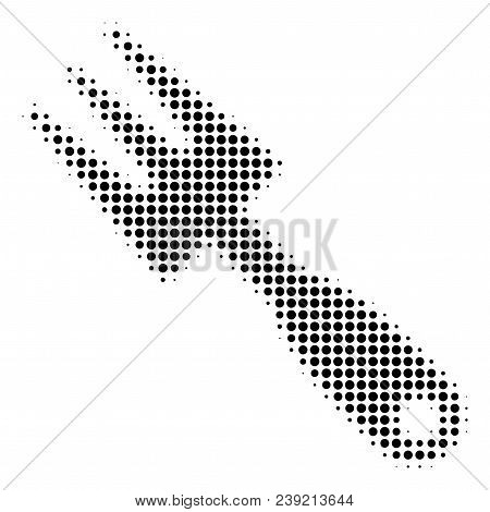 Dot Black Cultivator Rake Icon. Vector Halftone Concept Of Cultivator Rake Symbol Done From Spheric