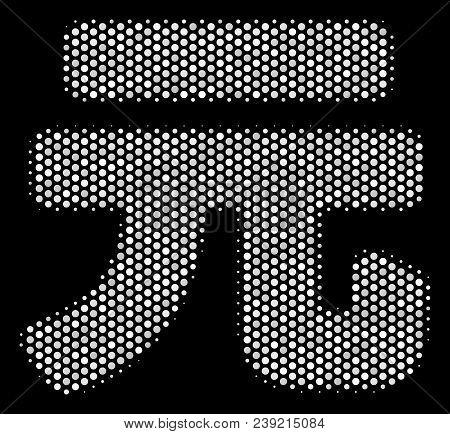 Pixel White Yuan Renminbi Icon On A Black Background. Vector Halftone Composition Of Yuan Renminbi P
