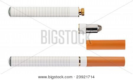 Electronic cigarette with parts isolated on a white background high quality macro shot poster
