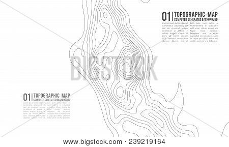 Topographic Map Contour Background. Topo Map With Elevation. Contour Map Vector. Geographic World To