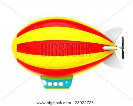 Cartoon Airship Isolated On White Background, Side View. Dirigible In Cartoon Kids Style. 3d Illustr